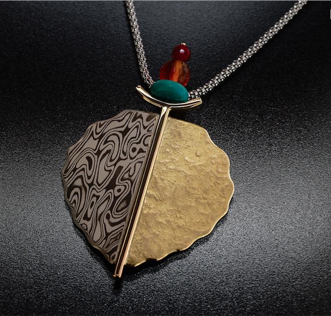Mokume gane jewelry mokume gane leaf pendant aloadofball Gallery