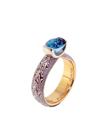 anello mokume gane con brillante