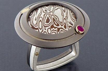 anello titanio mokume gane